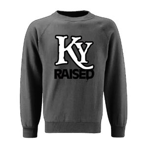 Image of KY Raised Crewneck Sweatshirt in Charcoal Grey / White / Black