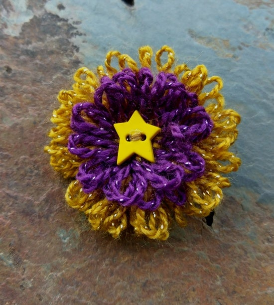 Image of Purple Gold Flower Pin, handmade