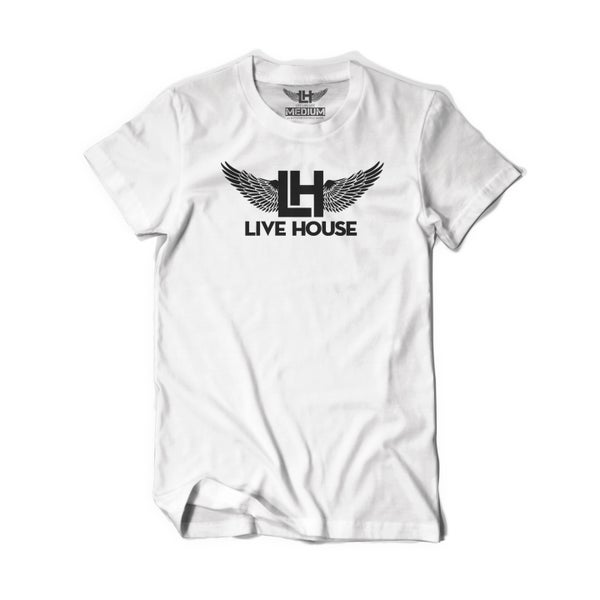 Image of Classic LH Wing Tee (Black on White)