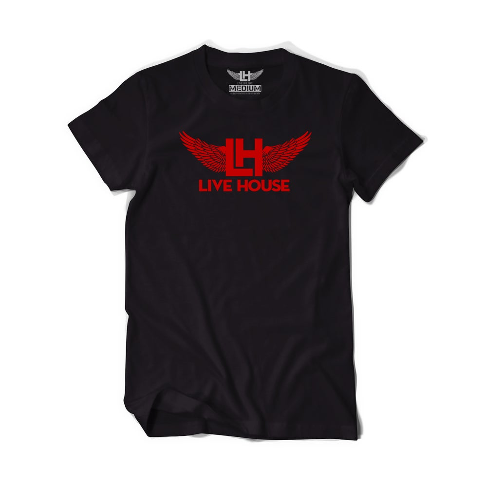 Image of Classic LH Wing Tee (Red on Black)