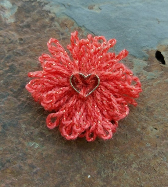 Image of Peaches & Hearts Pin, handmade