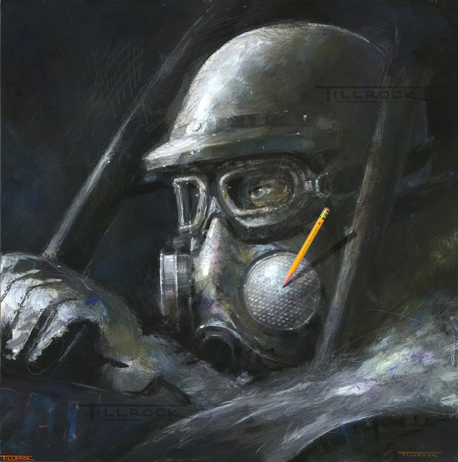 "Image of ""Dialed-In"" Gas Mask 24""x24"" Painting Print"