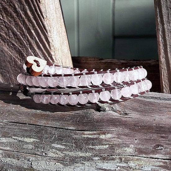 Image of Rose Quartz Beads on Chocolate Leather Double Wrap Bracelet