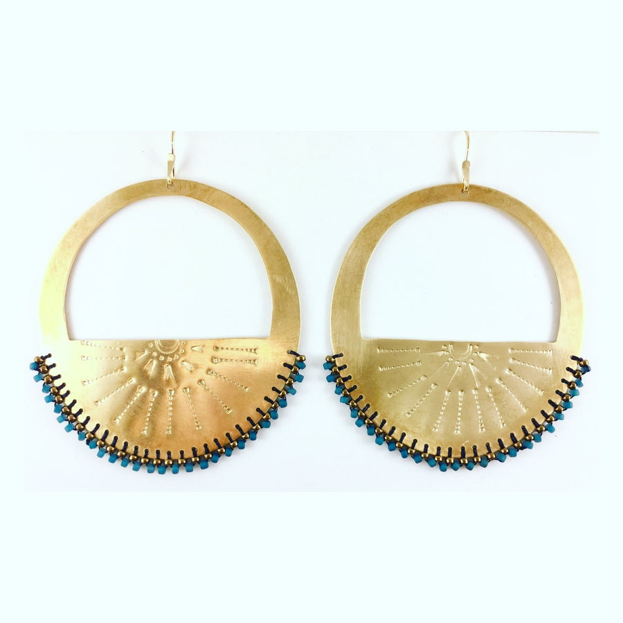 """Image of Stamped brass """"Arch Hoops"""" w/ blue and bronze beads"""