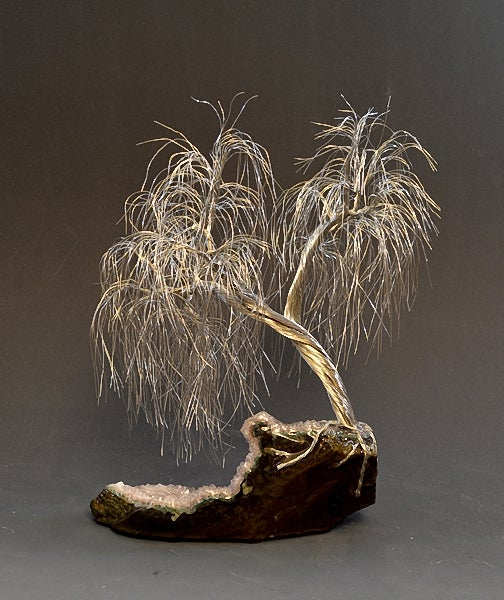 Image of Weeping Willow Silver Wire Tree Art Sculpture with Amethist mineral - 2297 - FREE SHIPPING