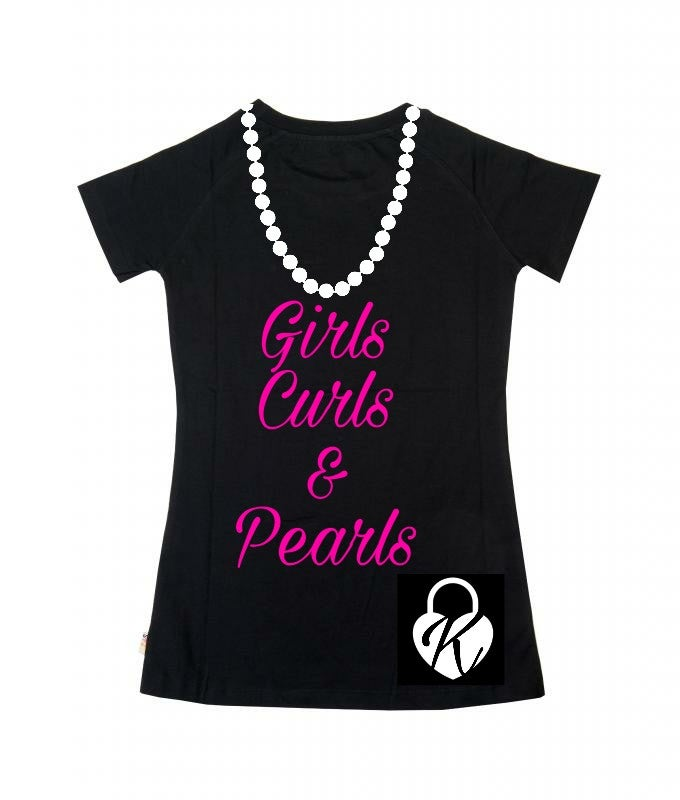 Image of K-lock Girls Curls & Pearls T-shirt