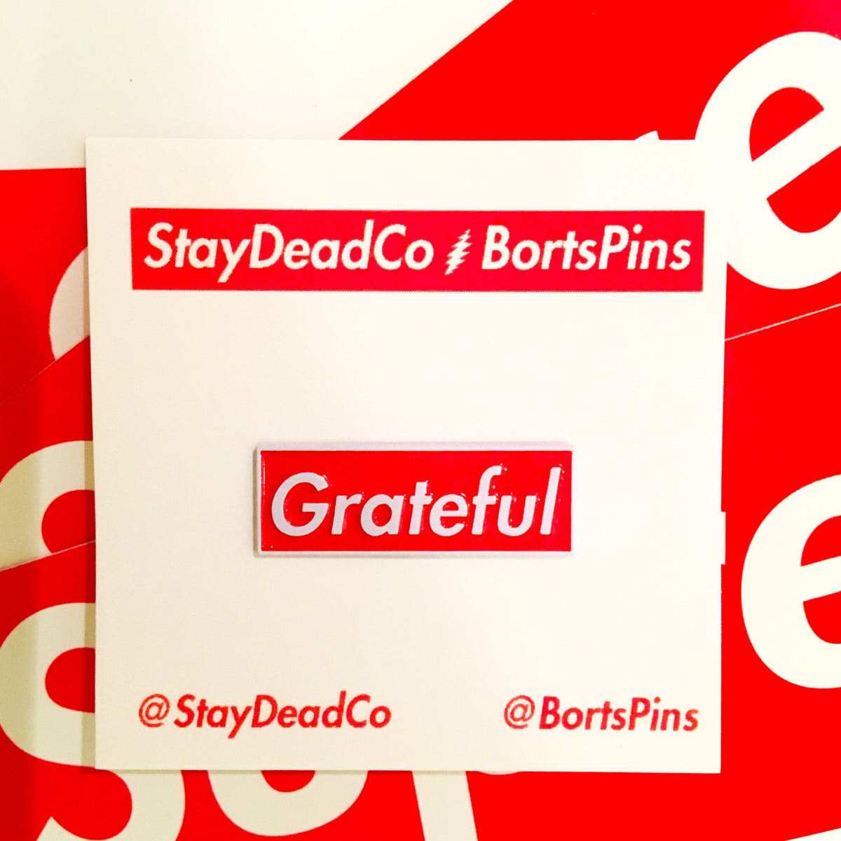 Image of Grateful Red Box StayDeadCo Collab Enamel Pin