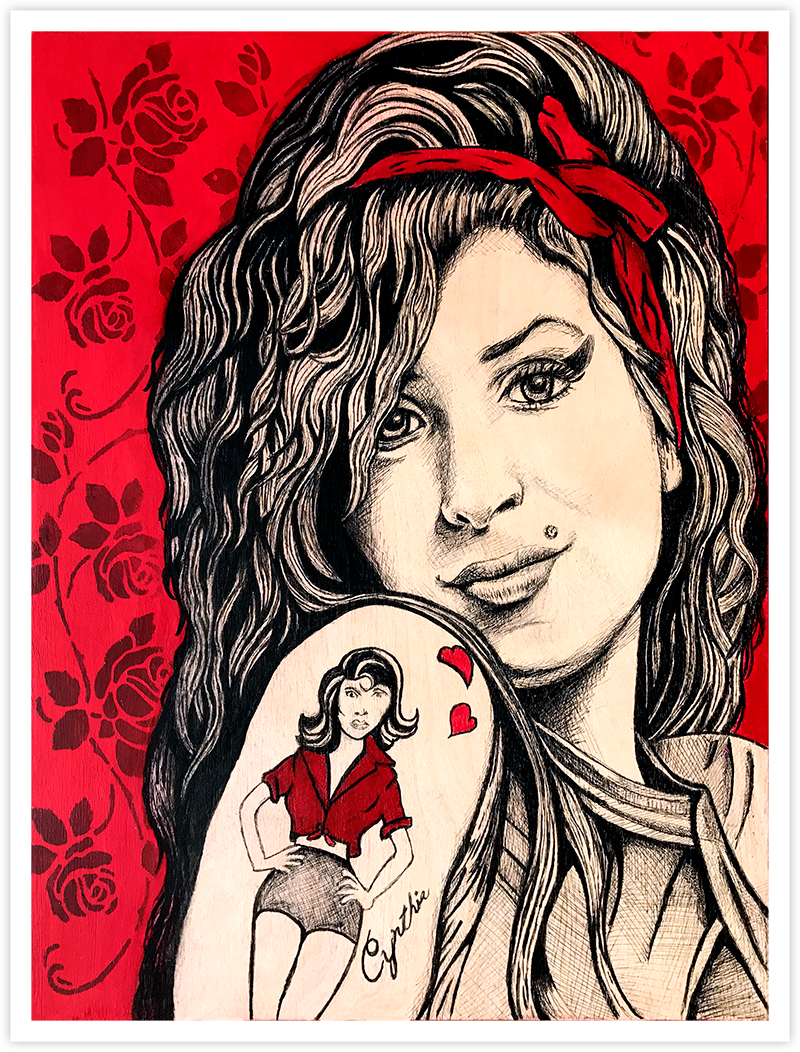 Image of Amy Winehouse Roses - Fine Art Print