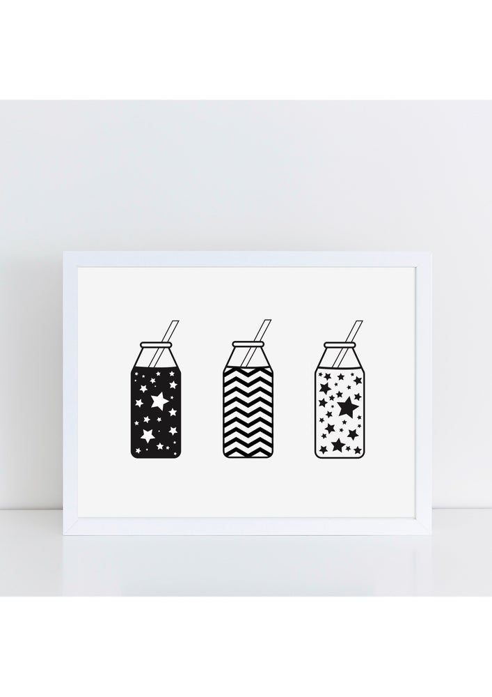 Image of Monochrome Milk Bottle Print by The Little Jones