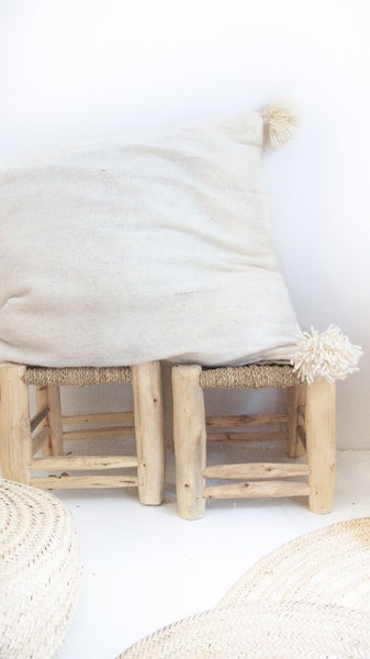 Image of Moroccan POM POM pillow cover - wool natural undyed