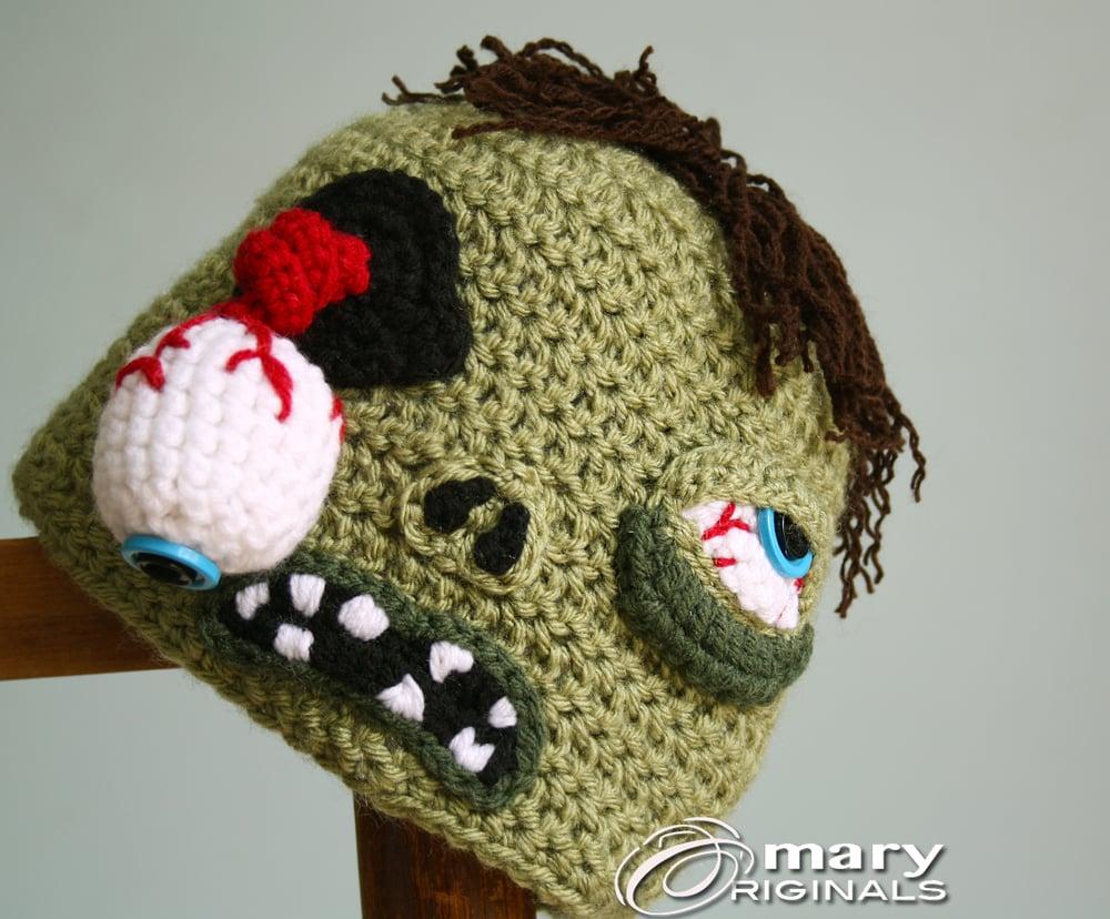 Mary Originals Zombie Hat Halloween Hat Crochet Zombie Adult