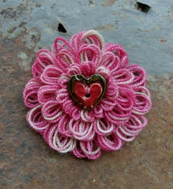 Image of Variegated Pink Heart Pin, handmade