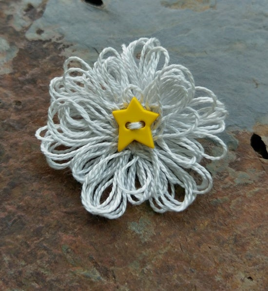 Image of Silver Pearl Star Pin, handmade