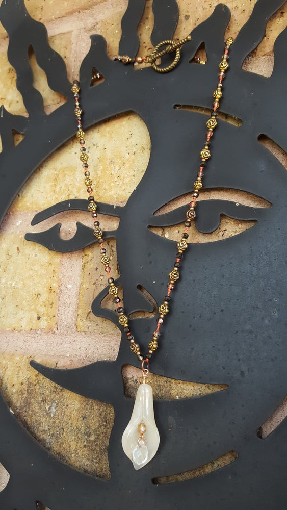 Image of Hand tied necklace on silk,with a jade pendent