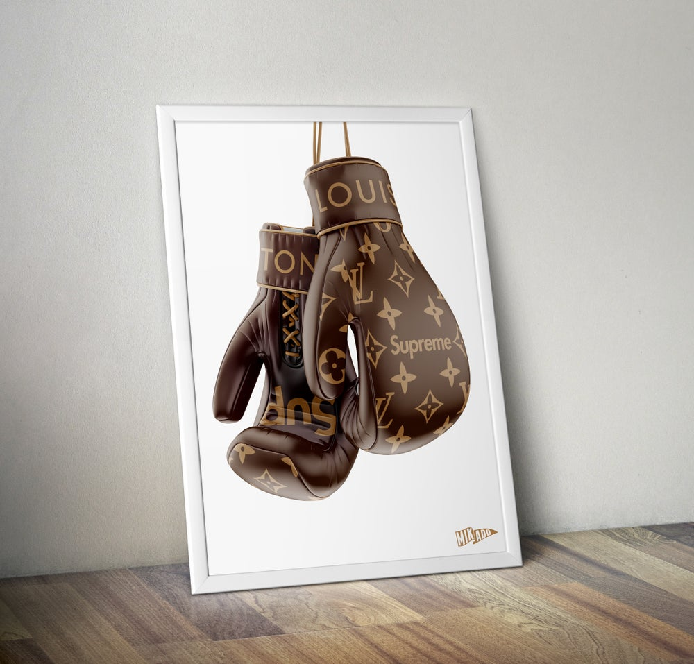 Image of SUPREME x LOUIS VUITTON BROWN BOXING GLOVES limited prints - Shipped Worldwide