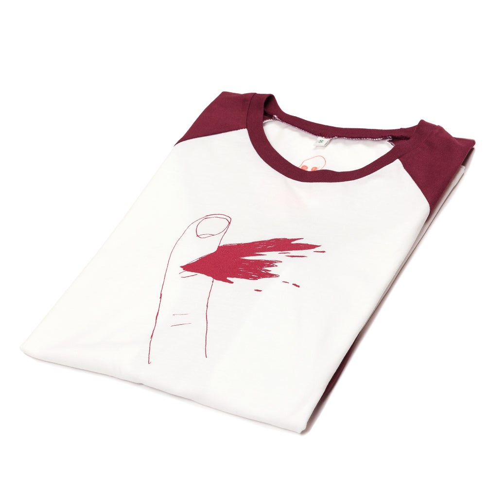 Image of Paper Cut Unisex White/Red Baseball (Organic)