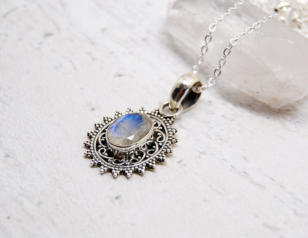 Image of Celestia Sterling Silver Moonstone Necklace