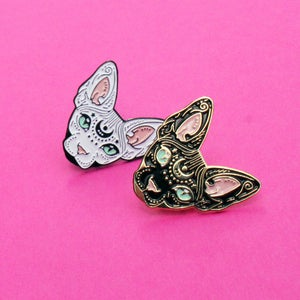 Image of Mystical Sphynx cat enamel pin, cat pin - badge - lapel pin
