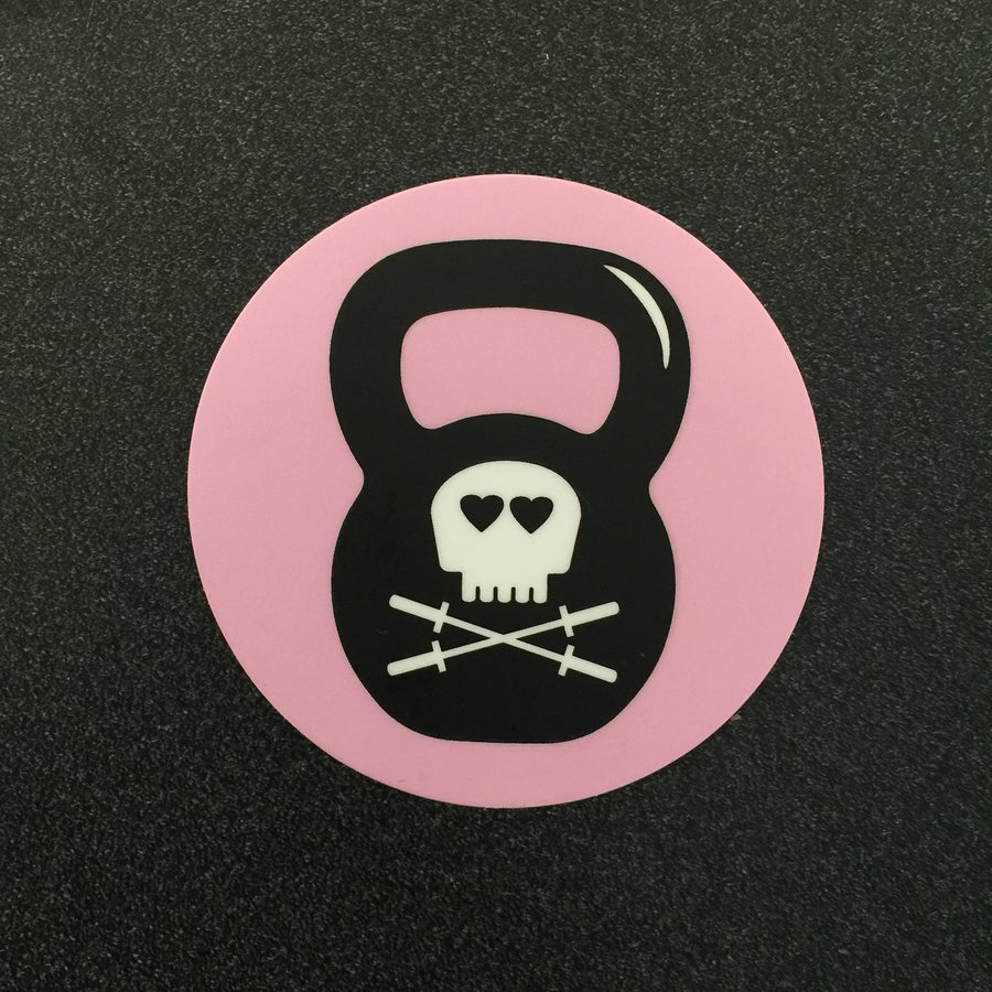 "Image of Kettle Bell 3"" round sticker"