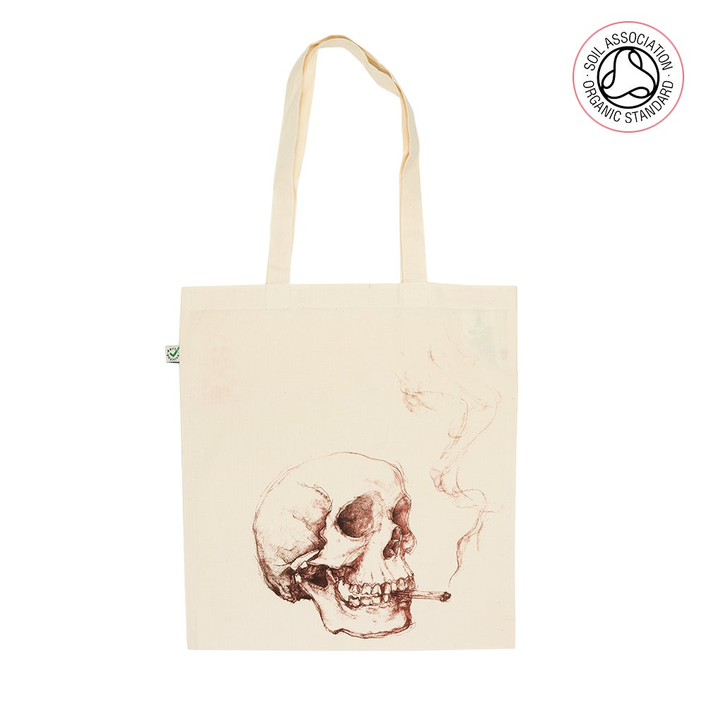 Smoking Skull Tote Shopping Bag (Organic)