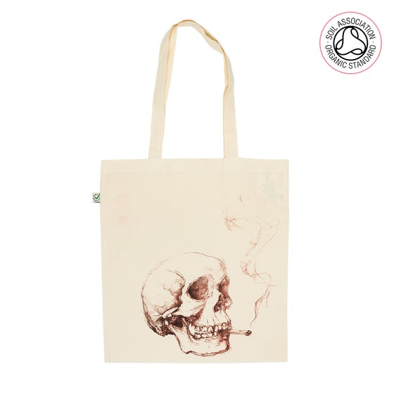Image of Smoking Skull Tote Shopping Bag (Organic)