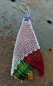 Image of Blue Star Red Lace Tree Ornament, handwoven