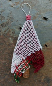 Image of Red Star Red Lace Tree Ornament, handwoven