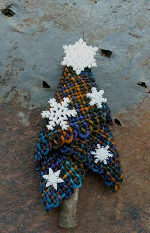 Image of Twilight Snowflake Tree Ornament, handwoven