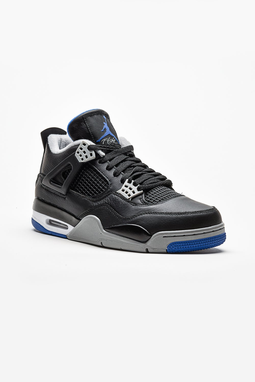 bba5cd89390e Image of Air Jordan 4 Retro - Motorsport Away. STYLE  308497-006. COLORWAY   BLACK GAME ROYAL-MATTE ...
