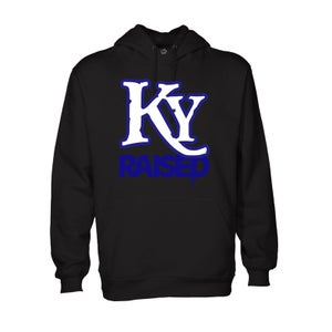 Image of KY Raised Hoodie in Black / KY Blue / White