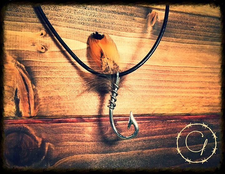 Image of Fly Hook Necklace with Genuine Feather on Leather Cord