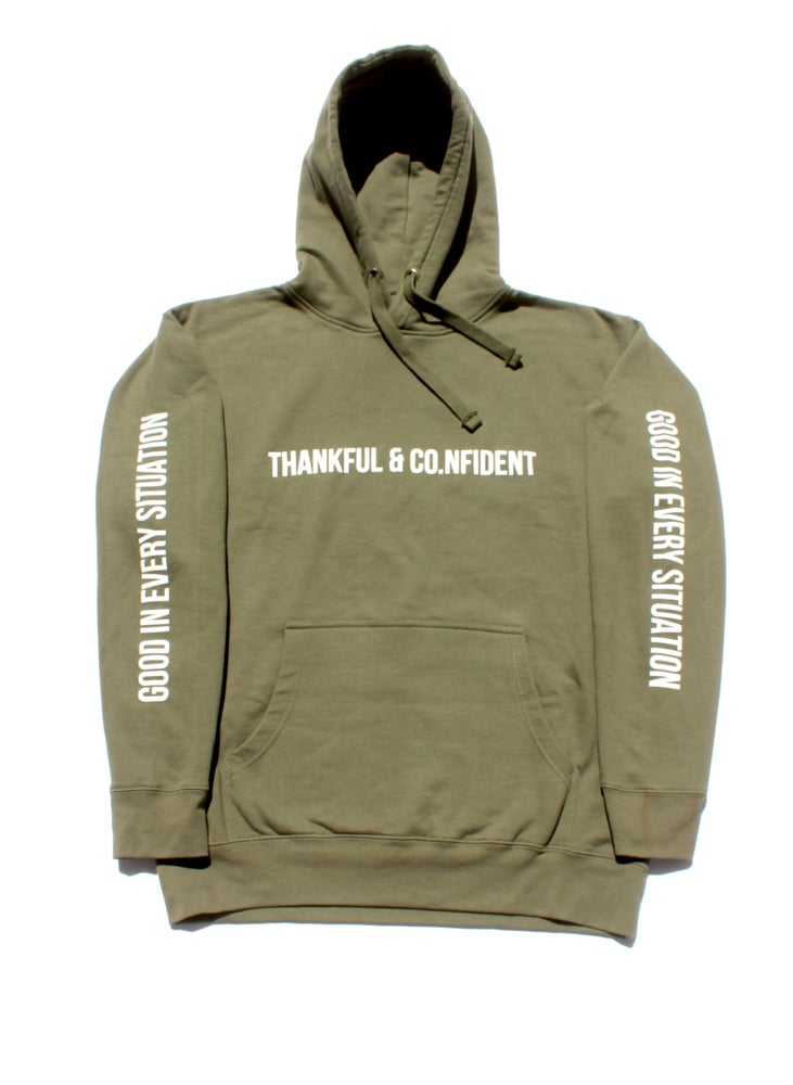 Image of THANKFUL & CO.NFIDENT OLIVE GREEN HOODIE