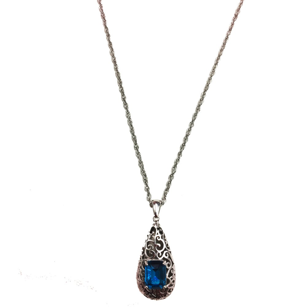 "Image of ""Reign Drop"" 14k White Gold • Blue stone"