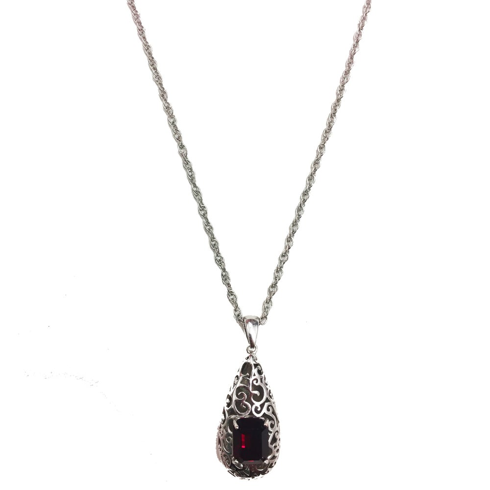 "Image of ""Reign Drop"" 14k White Gold •Red stone"