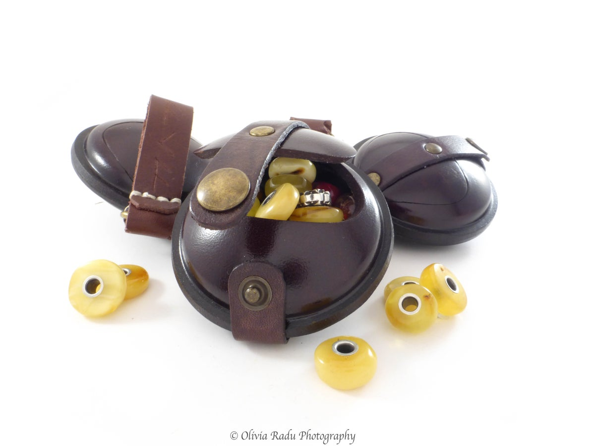 Image of Leather bead bag - small