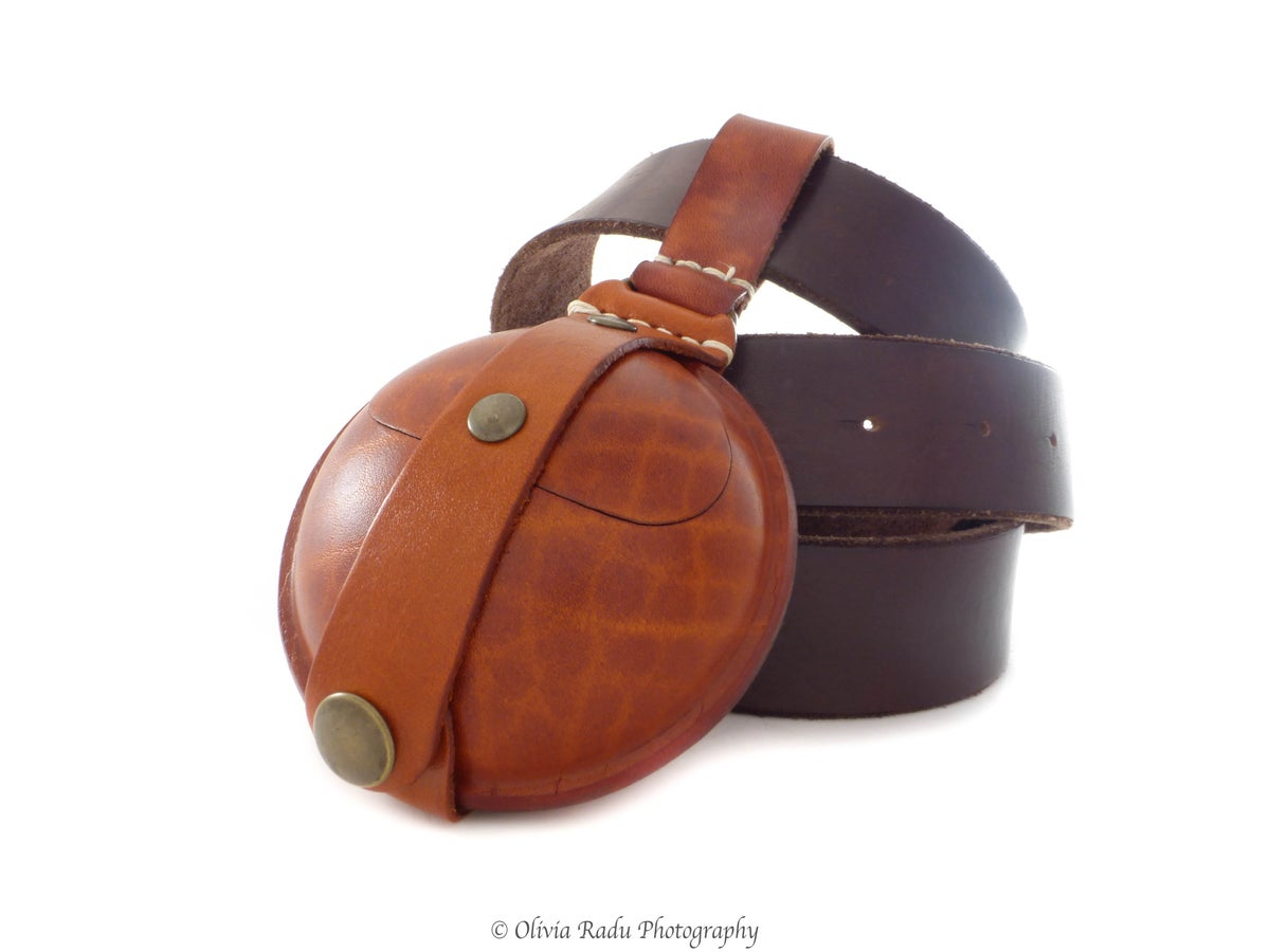 Image of Leather bead bag - large