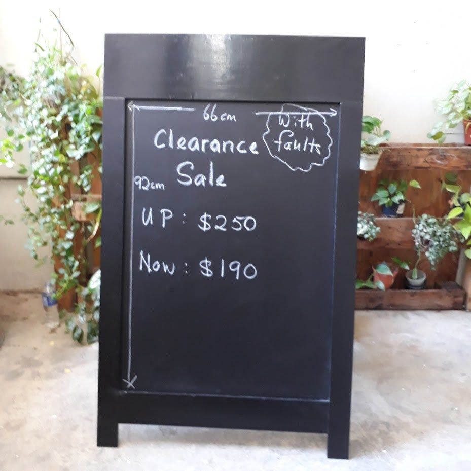 Image of Large and Heavy Single-Sided Black Standing Chalkboard