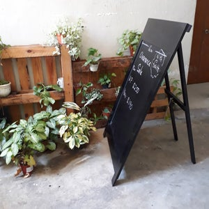 Large and Heavy Single-Sided Black Standing Chalkboard