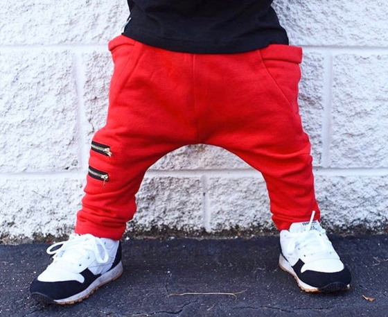 Image of Red Zipper Joggers