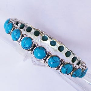 Image of Silver gemstone bangle