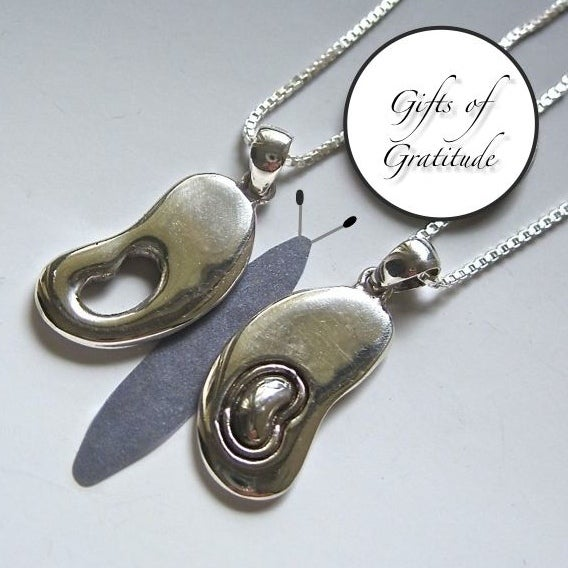 """Image of Transplant Gift Set: Donor/Recipient Sterling """"Butterfly Wing"""" Kidney Pendants"""