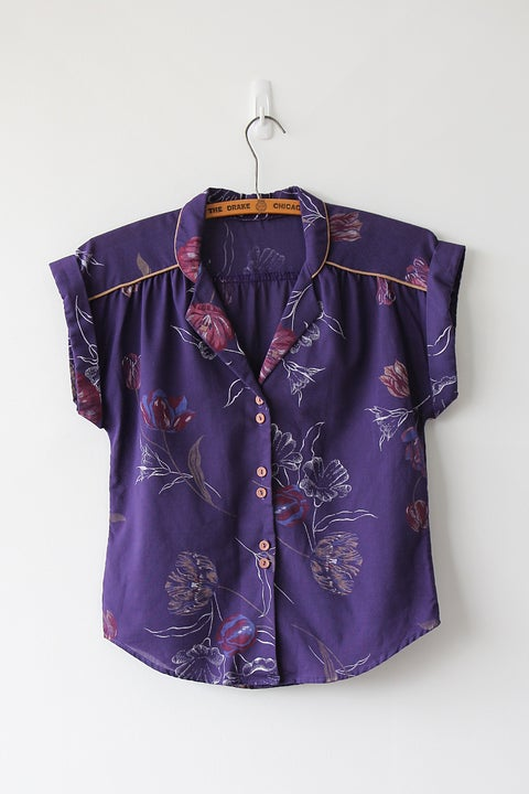 Image of SOLD Comfy Floral Purple Blouse