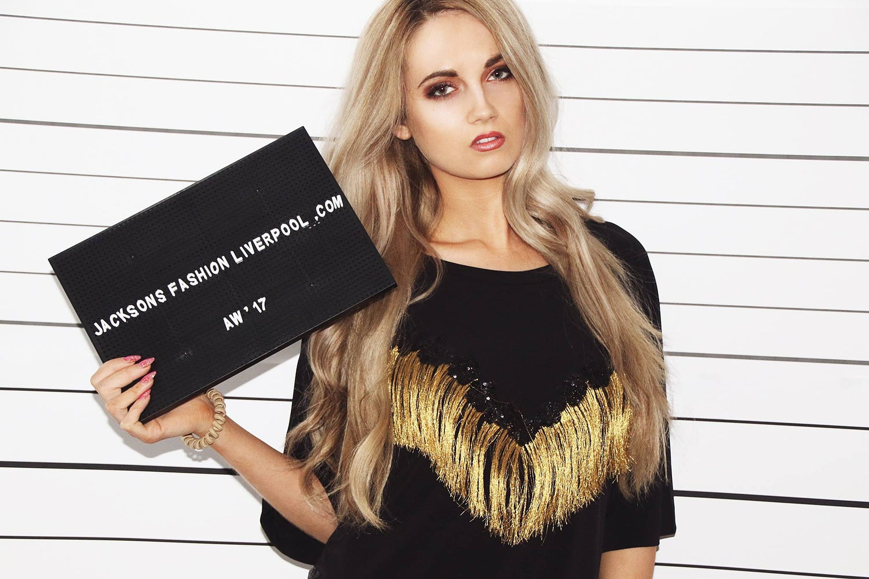 Image of Gold Fringe Embrioded Tshirt Dress