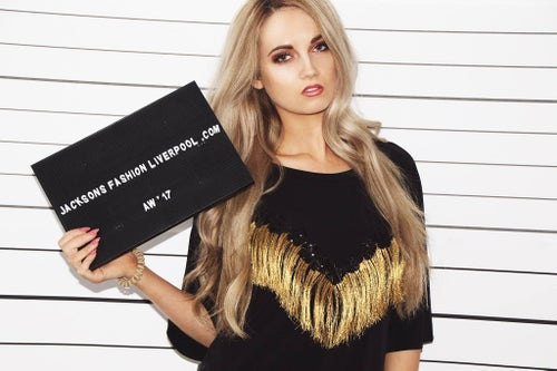 Image of Gold Fringe Embroidered T-shirt Dress