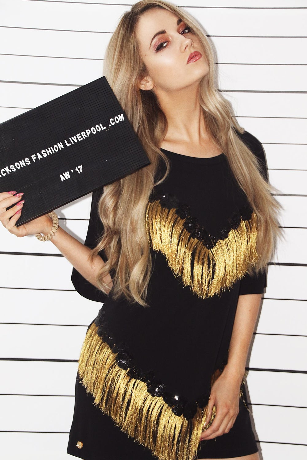 Image of Gold Fringe Embrioded Tshirt Dress