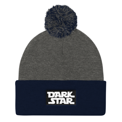 Dark Star Embroidered Pom Pom Knit Cap