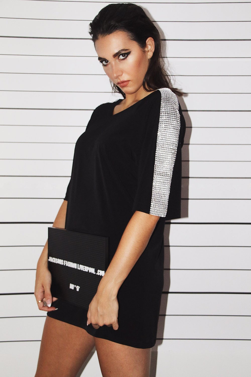 Image of Crystal Arm Detail Tshirt Dress - Black / White