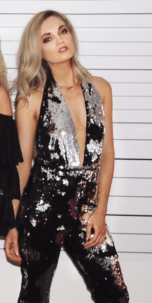 Image of Silver Flip Sequin Jumpsuit