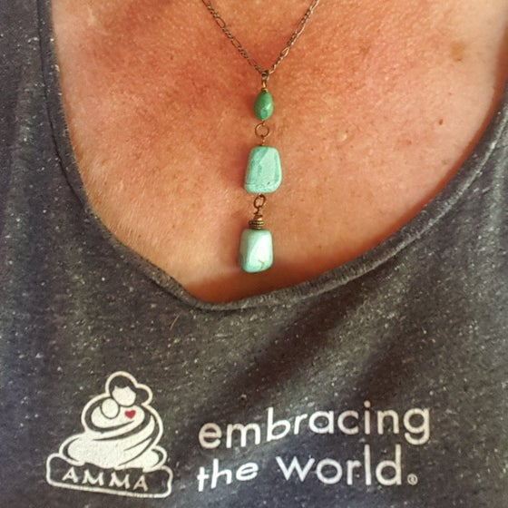 Image of  Turquoise and copper necklace