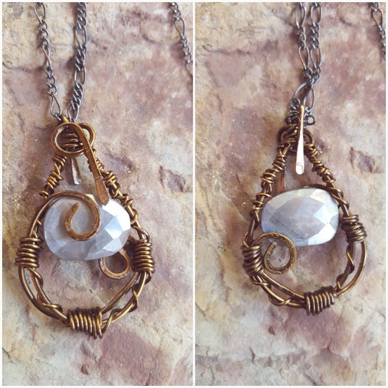 Image of Moonstone wire wrapped necklace